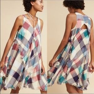 Anthropologie MAEVE Metallic Plaid Dress